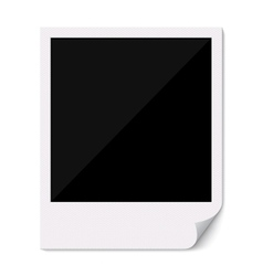 Blank polaroid photo frame with curved corner vector