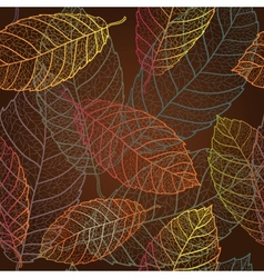 Autumn transparent leaves pattern background vector