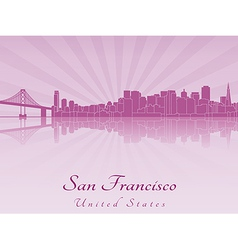 San francisco skyline in purple radiant orchid vector