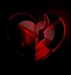 Broken heart-crystal with black veil vector