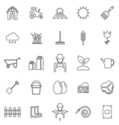 Farming line icons on white background vector