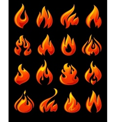 Fire flames set 3d red icons on a black ground vector