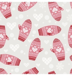 Pattern with cute mittens vector