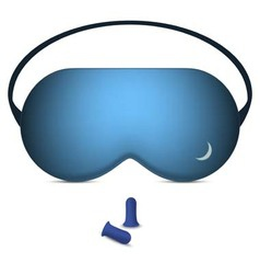 Sleeping mask and pair of foam earplugs vector
