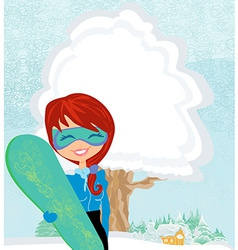 Girl with the snowboard vector