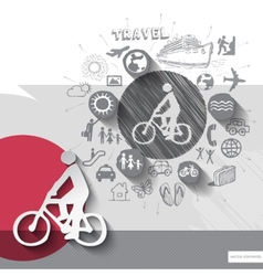 Hand drawn biker icons with icons background vector