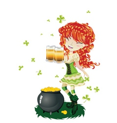Leprechaun girl with beer2 vector