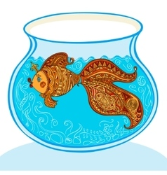 Goldfish and patterned tail in aquarium vector