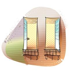 Window balcony background vector