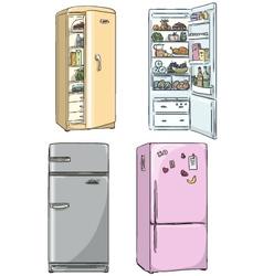 Set of four hand drawn cartoon fridges vector