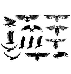 Eagle falcon and hawk birds set vector