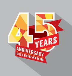 45th years anniversary celebration design vector
