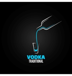 Vodka shot glass bottle design background vector