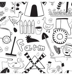 Black and whete seamless pattern farm elements in vector