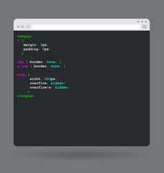 Flat browser window with code vector