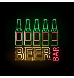 Neon sign beer bar vector