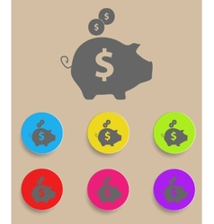 Piggy bank - saving money icon with color vector