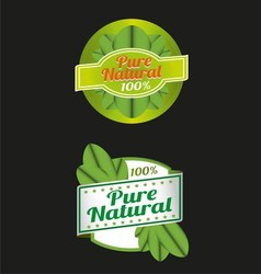 100 percent pure nature green sign label vector