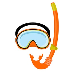 Orange diving mask and tube vector
