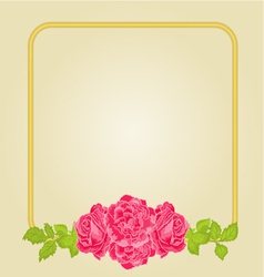 Golden frame with pink roses greeting card vector