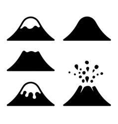 Volcano icons set vector