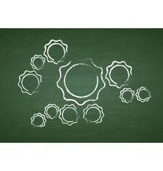 Tech gears on green chalkboard vector