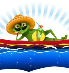 Frog on water mattress vector