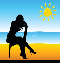 Girl sitting on the chair on the beach vector