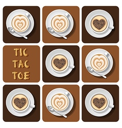 Tic-tac-toe of cappuccino and latte vector