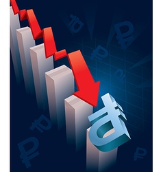 Russian ruble currency crash vector