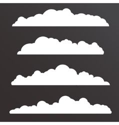 Collection of various clouds with a big long shape vector