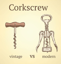 Vintage corkscrew versus modern vector