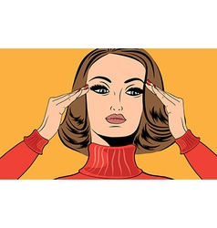 Pop art retro woman in comics style with migraine vector