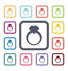 Ring flat icons set vector