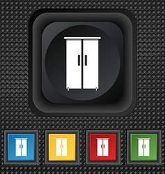 Cupboard icon sign symbol squared colourful vector