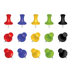 Color push pins vector