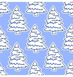 Seamless pattern of christmas tree in snow vector