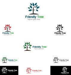 Friendly tree logo templates vector
