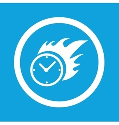 Burning clock sign icon vector