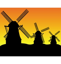 Dutch windmill silhouettes vector