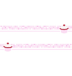Cupcake background pink wallpaper banner vector