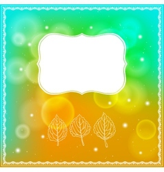 Three leaves and frame on bokeh background vector