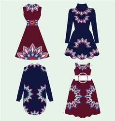 Set of women fashion dresses vector