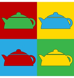 Pop art kettle icons vector