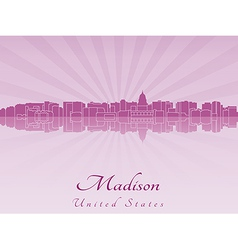 Madison skyline in radiant orchid vector