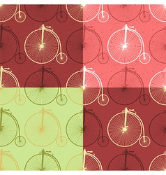 Set of abstract vintage bicycle seamless vector