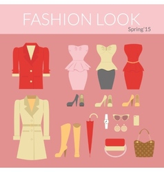 Fashion female clothes set vector