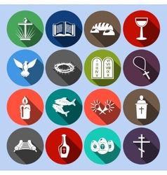 Christianity icons set flat vector