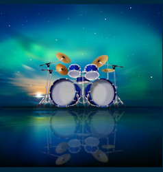 Abstract music background with sunrise drum kit vector