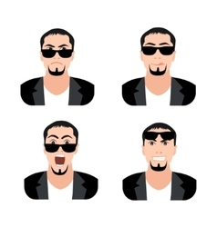 Flat men with faces icons set set of men avatars vector